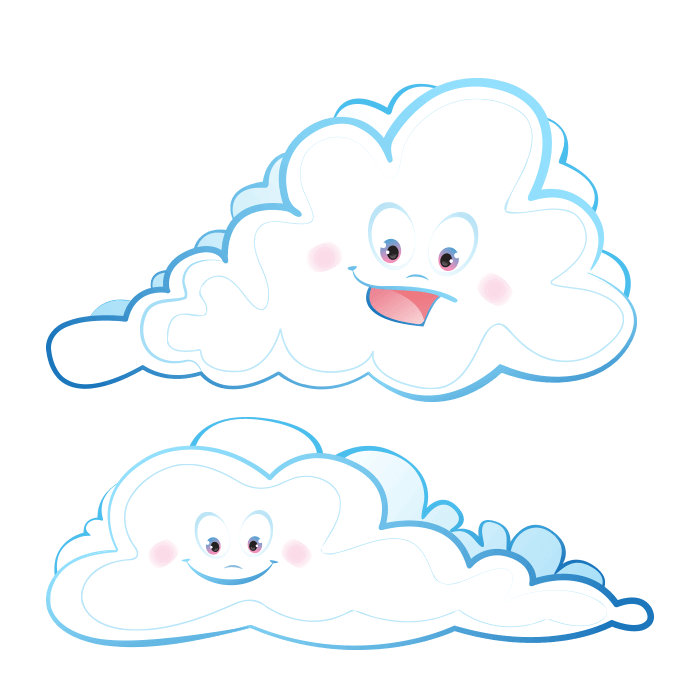 In the Clouds Wall Decors for Children, Smiling Clouds Sticker